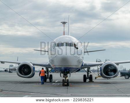 Bucharest, Romania - Feb 15: Pilot Looking Through A Open Front Window Of A Plane