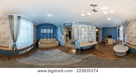 Lida, Belarus - August 4, 2012:  360 Angle Panorama View In Small Furnished Guest Room In Hotel. Ful