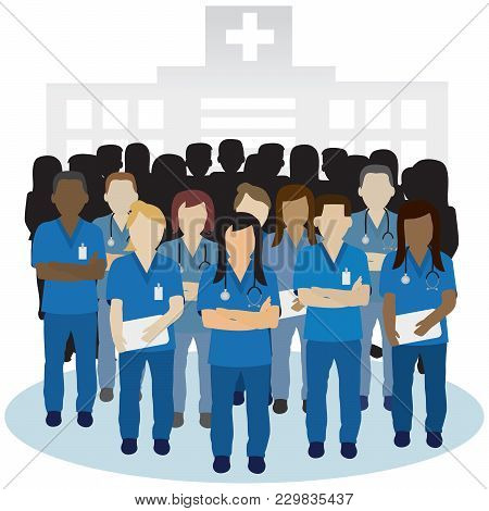 Irritated Or Angry Nurse Group In Front Of An Hospital Building Concept