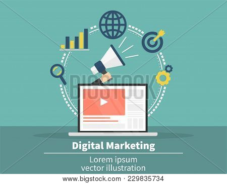 Digital Marketing Concept. Social Network And Media Communication. Seo, Sem And Promotion And Busine