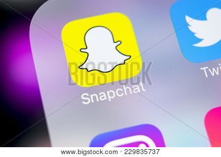 Sankt-petersburg, Russia, March 6, 2018: Snapchat Application Icon On Apple Iphone X Smartphone Scre