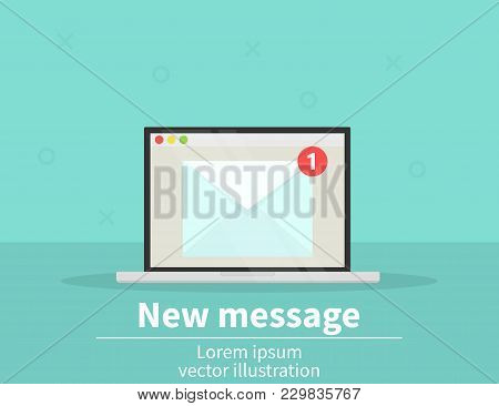 New Message Icon On Laptop Screen. Vector Illustration