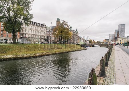 Malmo, Sweden - 22 October 2016: View To The  Central Stationin Area,  Skeppsbron Street, In Malmo,
