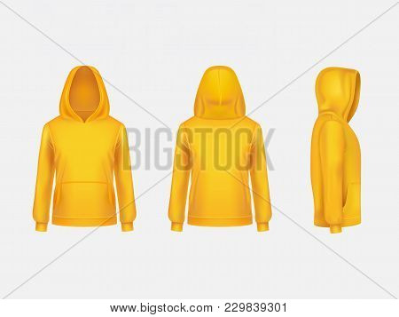 Vector Yellow Hoodie Sweatshirt 3d Realistic Mockup Template On White Background. Fashion Long Sleev