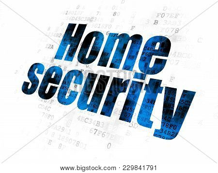 Security Concept: Pixelated Blue Text Home Security On Digital Background
