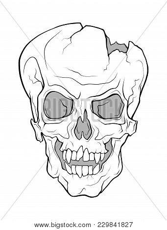 The Skull Of A Grinning Vampire. Vector Monochrome Illustration Of A Tattoo Style Isolated On A Whit