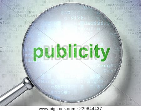 Marketing Concept: Magnifying Optical Glass With Words Publicity On Digital Background, 3d Rendering