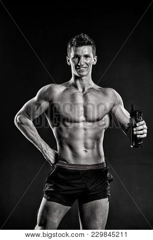 Thirst, Dehydration, Drinking Water Concept. Man Athlete Smile With Fit Torso, Body. Sportsman With