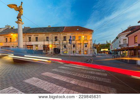 Central Square In The Historic Area Of Uzupis. Vilnius. Lithuania.