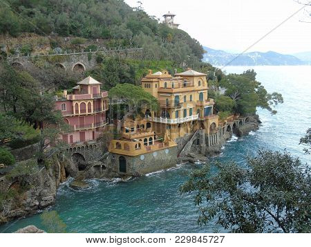 Eautiful Caption Of The Sea From Portofino In An Amazing Winter Day With Some Colored Houses And Som