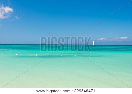 Summer Vacation In Caribbean Paradise. Sea Or Ocean With Turquoise Water In Antigua. Seascape On Idy