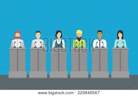 Cartoon Different Nationalities Politicians Card Poster Public Congress, Conference Or Debate Concep