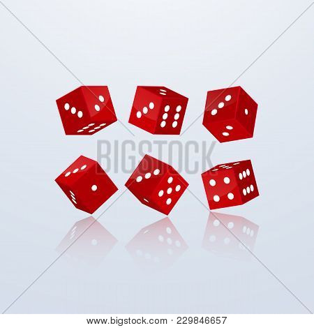Dice Of Red Color In Different Perspective On A Light Background. 3d, Vector Illustration