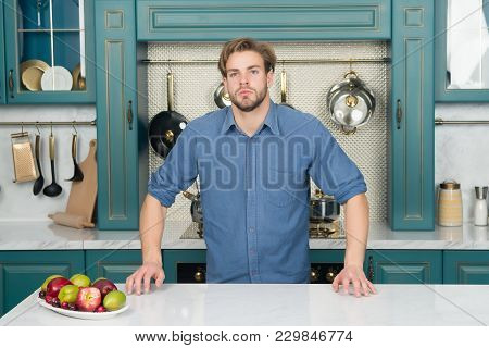 Man With Fresh Fruit Plate On Table, Vitamin. Bachelor With Beard In Blue Shirt In Kitchen, Cuisine.