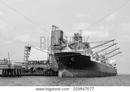 Logistics And Transportation Of International Container Cargo Ship In The Ocean At Dock , Freight Tr