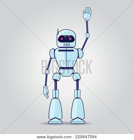 Robot Character. Robot Greeting Someone With His Hand Raised Up. Vector Illustration