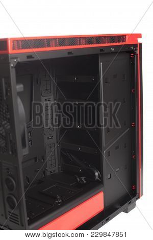 Desktop Empty Computer Case With Cooler Fan Isolated On White