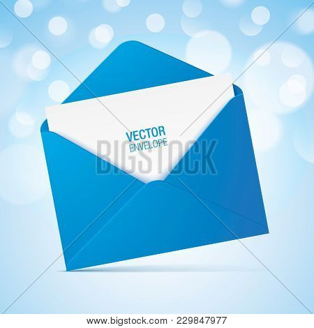 Blue Vector Envelope On A Bokeh Background. Realistic Blue Opened Envelope Standing On A Surface.
