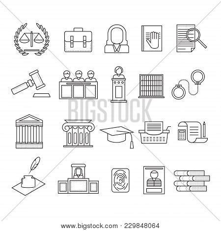 Law And Legal Signs Black Thin Line Icon Set Include Of Judge, Gavel, Lawyer, Document, Book And Han