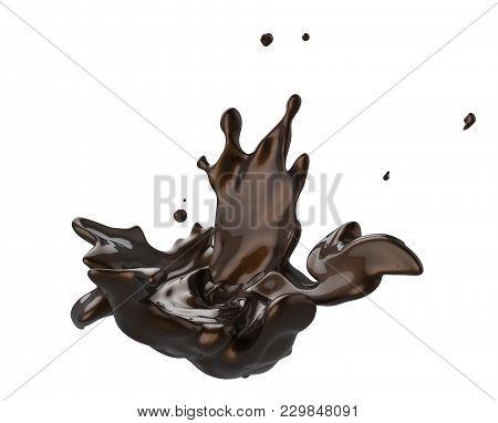 Dark Chocolate Whirl And Splash Liquid Isolated On White Background In 3d Illustration. Splashing Re