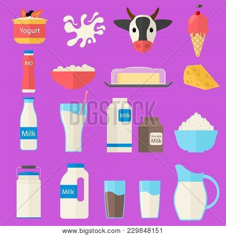 Cartoon Color Milk Products Icons Set Dairy Concept Flat Design Style Include Of Bottle, Yogurt, Che