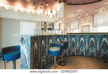 Modern Reception Interior. Front Desk Of Beauty Or Spa Salon. Entrance Hall With Tiled Counter, Comf