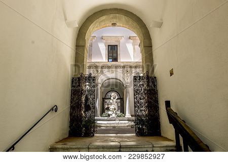 Palermo.italy.may 26, 2017.the Fountain In The Courtyard Of The Archaeological Museum In Palermo. Si