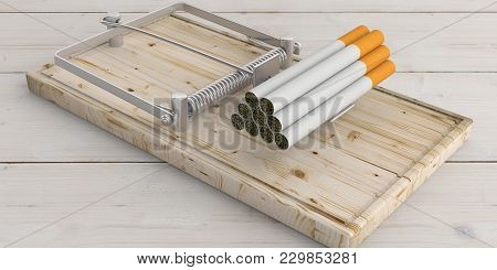 Smoking Is A Bait. Cigarettes Heap On A Mouse Trap, Wooden Background. 3D Illustration