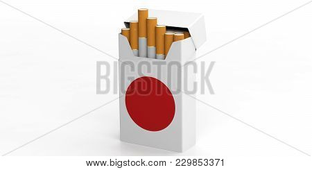 Smoking, Cigarettes Japan. Japanese Flag On A Cigarette Pack Isolated On White Background. 3D Illust