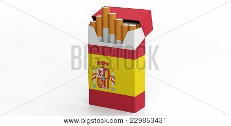 Smoking, Cigarettes Spain. Spanish Flag On A Cigarette Pack Isolated On White Background. 3D Illustr