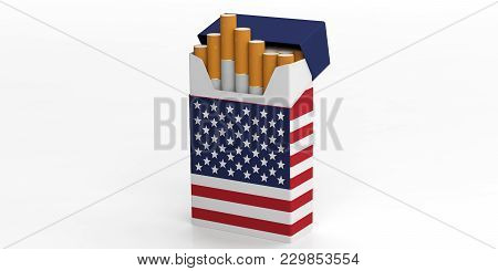 Smoking, Cigarettes Usa. United States Of America Flag On A Cigarette Pack Isolated On White Backgro