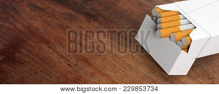 Smoking. White, Blank Cigarette Pack On Wooden Background, Banner, Copy Space. 3D Illustration