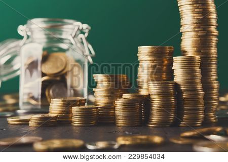 Coins In Glass Jar, Copy Space. Money Box, Saving Money For Dream, Pension, Vacation. Financial Stab