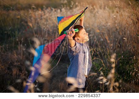 dreamy little boy with his eyes closed keeps colorful kite above his head in the field poster