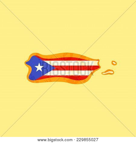 Map Of Puerto Rico Colored With Puerto Rican Flag And Marked With Golden Line In Grunge Vintage Styl