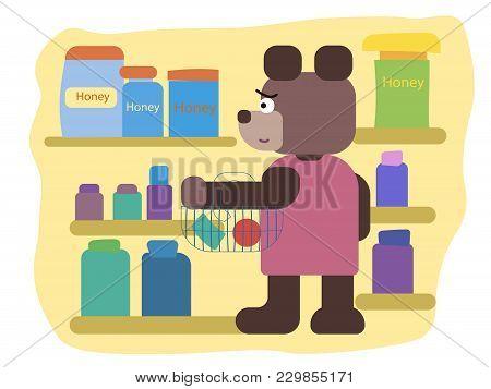 Cartoon Brown Bear, Cartoon Brown Bear In The Market Flat Illustration , Cartoon Animals