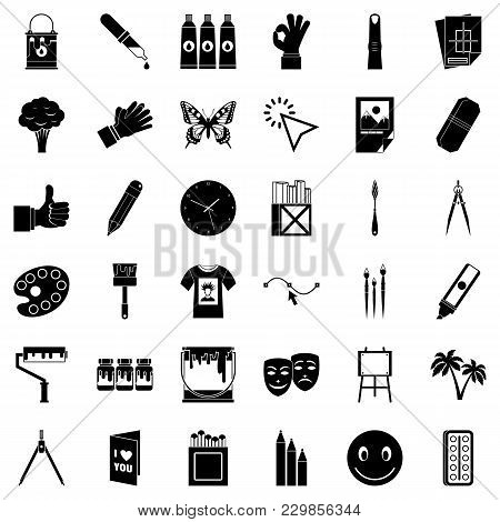Paint Material Icons Set. Simple Set Of 36 Paint Material Vector Icons For Web Isolated On White Bac