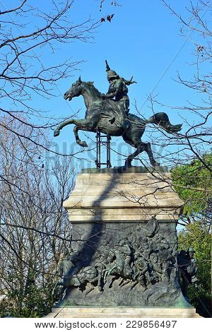 Equestrian Monument Of Anita Garibaldi, Was Wife And Comrade-in-arms Of Italian Revolutionary Giusep