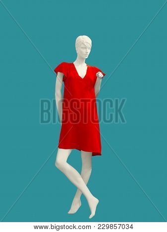 Full-length Female Mannequin Wearing Fashionable Red Dress, Isolated. No Brand Names Or Copyright Ob