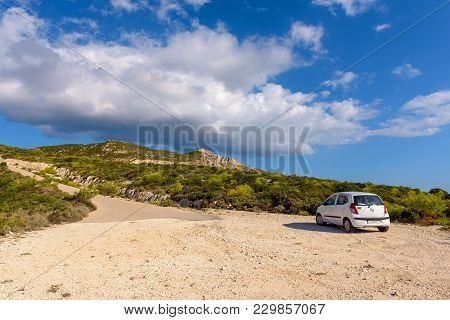 Zakynthos, Greece - October 1, 2017: Hyundai Car Parked On Gravel Road On The Coast Of Zakynthos Isl