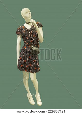 Full-length Female Mannequin Wearing Brown Suit With Flower Pattern, Isolated On Green Background. N