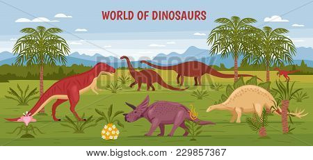 Dino Illustration With Wild Landscape View Of Prehistorical Nature And Flora With Dinosaur Images An