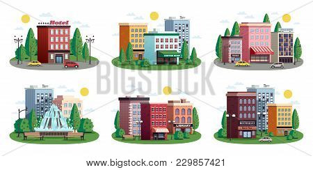 Urban Summer Colorful Compositions Set With Town Center Shopping Area Hotel Park Residential Houses