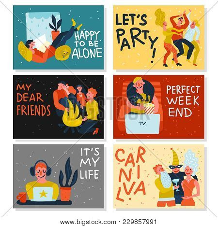 Extraversion Introversion Horizontal Cards On Color Background With Persons During Recreation Isolat