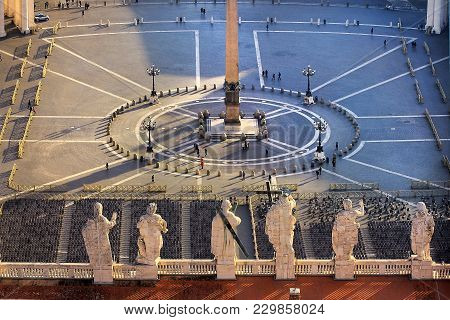 View Of St. Peters Square From The Height Of The Dome Of St. Peters Cathedral, Vatican, Rome, Italy