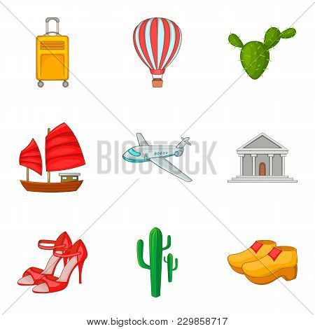 Single Journey Icons Set. Cartoon Set Of 9 Single Journey Vector Icons For Web Isolated On White Bac