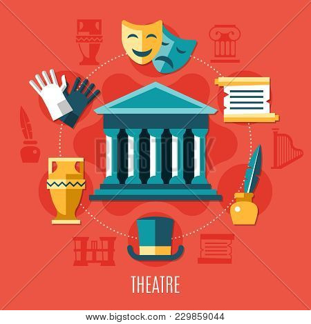 Theatre Colored Composition With Elements Of Theatrical Activity Combined Around The Building Vector