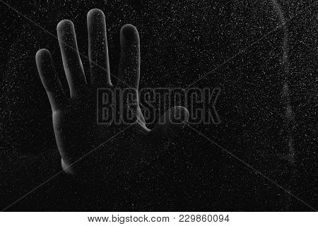 Close-up Partial View Of Human Hand Touching Glass With Glitches
