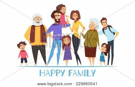 Portrait Of Happy Family With Grandparents, Mom And Dad, Kids, Uncle On White Background Vector Illu