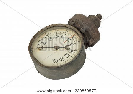 Old Water Pressure Meter, Manometer On A White Background, Isolated